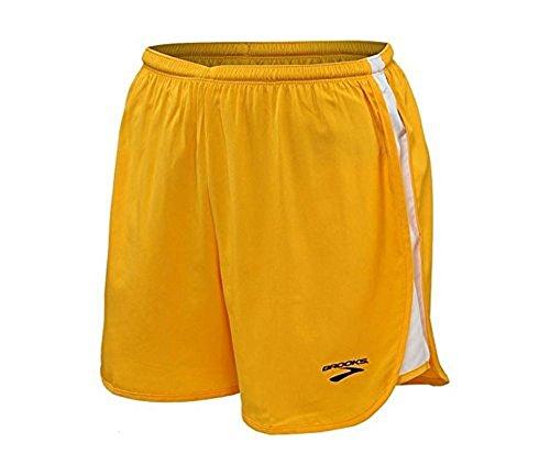Brooks Athletic Curved Side Panel Shorts - Gold/White - Medium (Brooks Athletic Apparel)