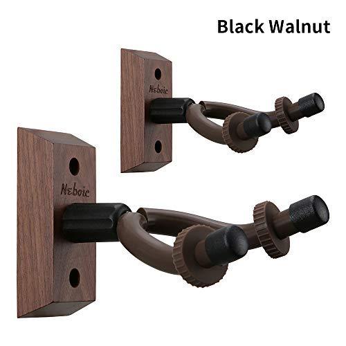 2 Pack Guitar Wall Mount, Neboic Hard Wood Guitar Wall Hanger, Black Walnut Guitar Hook, Guitar Accessories for Acoustic Electric Bass Ukulele Guitar