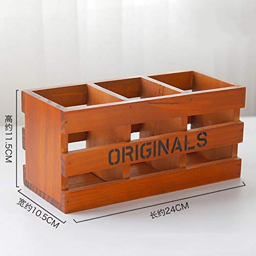 (Milemelo Makeup Brushes Storage Container 3 Compartments Rustic Old Style Wooden Desk Organizer Remote Control Pencil Pen Holder Office Supplies Caddy)