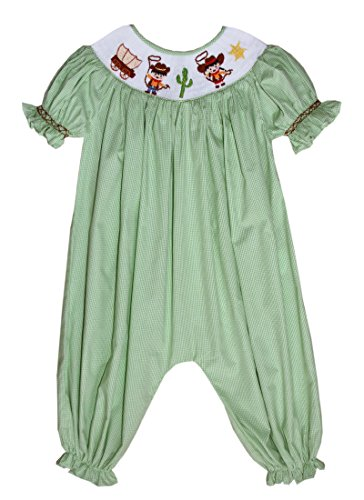Hand Smocked Cowboy Cowgirl Girls Long Bubble Western Outfits Sheriff - Bubble Smocked