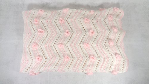 baby girl pink and white floral blanket afghan throw crib cover baby shower gift by BrittanyAnnsBoutique
