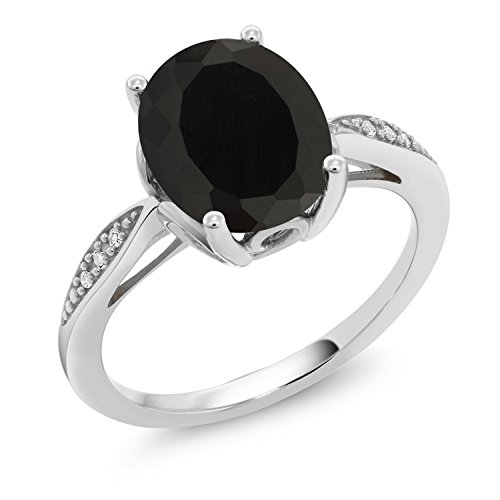 (Gem Stone King 2.54 Ct Oval Black Onyx White Diamond 14K White Gold Ring (Size)