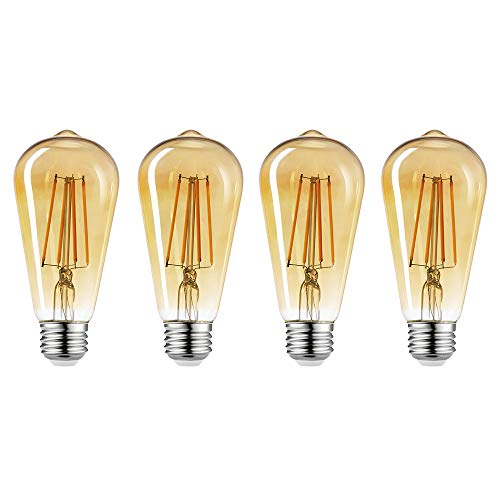 Globe Electric 34838 60W Equivalent Soft White (2150K) Vintage Edison ST19 Dimmable LED Light Bulb 4-Pack, E26 Base, 450 Lumens, Amber Glass, Piece ()