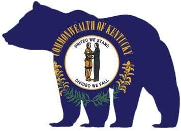 Kentucky State Shaped Bear Flag Sticker Decal Vinyl Outdoors Wilderness KY