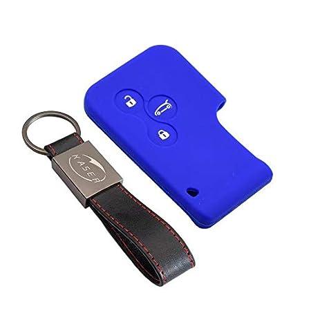Cover Guscio Chiave Silicone per Renault Clio Megane Modus Espace Kangoo Twingo 3 Tasti Portachiavi Custodia Morbido Protezione Telecomando Auto Blu//solo Keyless GO