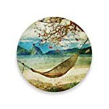 Coasters for Drinks,Artwork Painting Ceramic Round Cork Trivet Heat Pads Table Cup Mat Coaster-Set of 2 Pieces
