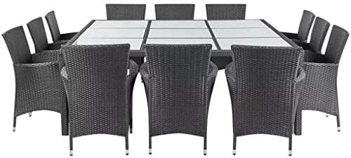 Xinglieu Juego de Mesa sillas de jardín de 25 Piezas en polirratán Negro Juego de sillas y Mesa de jardín Mesa y sillas de jardín: Amazon.es: Jardín