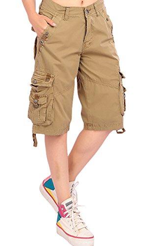 予想外移行フックchouyatouレディースカジュアルゆったりフィットマルチポケットTwill Bermuda Cargo Shorts