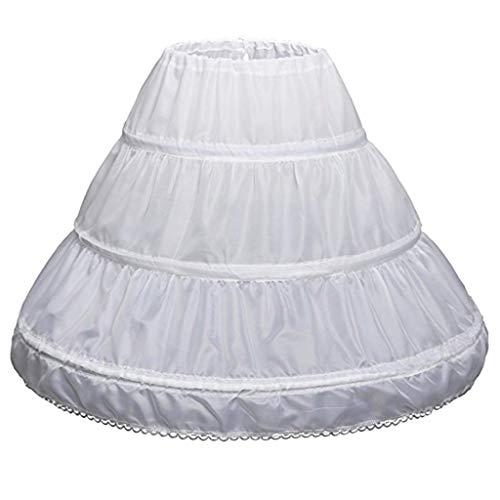 NNJXD Girls' 3 Hoops Petticoat Full Slip Flower Girl Crinoline Skirt Suits for 5-15 Years White