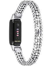 Vervangende bandjes compatibel met Fitbit Luxe riem, Chofit metalen roestvrijstalen polsband met strass Bling Bling Band voor Luxe Activity Tracker