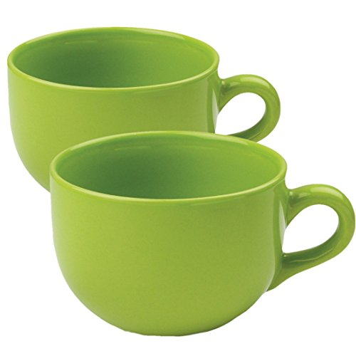 24 ounce Extra Large Latte Coffee Mug Cup or Soup Bowl with Handle - Green Citron (Set of 2)