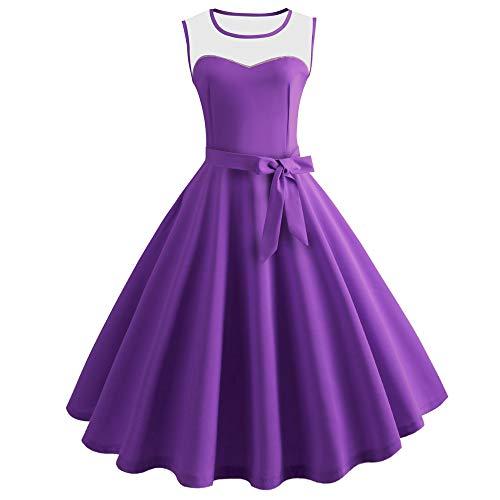 KCatsy Hepburn Vintage Series Women Dress Spring and Summer Grenadine Stitching Design Sleeveless Belt Retro Corset Dress Purple]()