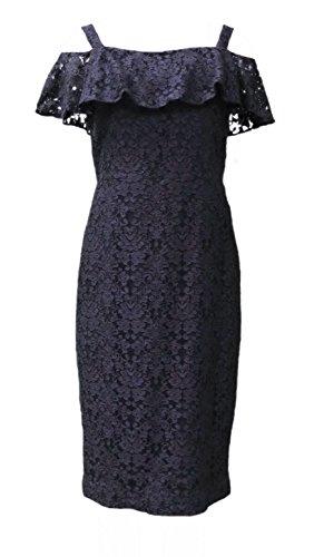 Donna Degnan Marine Au Large Robe De Dentelle À Volants Épaule Des Femmes Sz 8 623e