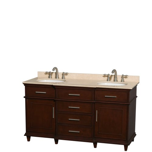 Wyndham Collection Berkeley 60 inch Double Bathroom Vanity in Dark Chestnut with Ivory Marble Top with White Undermount Oval Sinks and No Mirror
