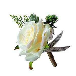 MagiDeal Romantic Wedding Rose Flower Corsage Groom Best Man Boutonniere Party Decoration 8