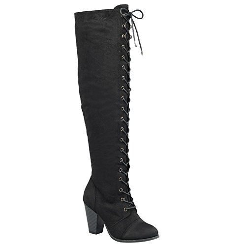 Forever Camila-47 Women's Chunky Heel Lace Up Over The Knee Brown High Riding Boots,Black Suede,8.5 ()