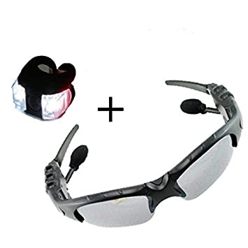 Denshine - Gafas de sol con auriculares y manos libres para todos los teléfonos móviles (incluye luces de bicicleta): Amazon.es: Jardín