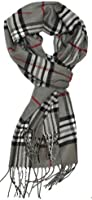HUE21 Man's Cashmere Feel Men's Winter Scarf in Rich Plaids (Grays)