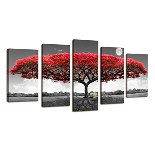 Canvas Wall Art 5parts Big Tree Red Leaf with Chair on Grass Wall Decor Modern Artwork Long Picture Prints Contemporary Painting Black and White Scenery for Living Room Bedroom Home Decoration