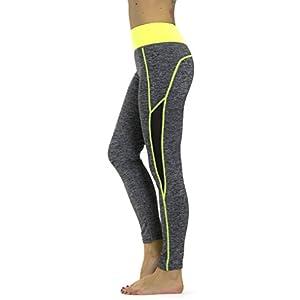 Prolific Health Yoga Women Pants Mesh Flex Activewear Fitness Leggings (Large/X-Large, Gray/Neon Yellow)
