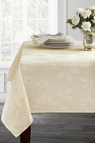 """Poinsettia Legacy Damask Christmas Tablecloth (Ivory, 60"""" X 120"""" Rectangular) - Benson Mills brought you the Poinsettia Legacy Jacquard tablecloth. This shiny fabric will brighten your day & table all throughout the winter months. Easy Care Care Instructions: Machine wash, cold, gentle cycle. Wash dark colors separately. Use non-chlorine bleach only. Tumble dry low. Remove promptly. Lightly iron if necessary. - tablecloths, kitchen-dining-room-table-linens, kitchen-dining-room - 41KCyEEZEGL -"""