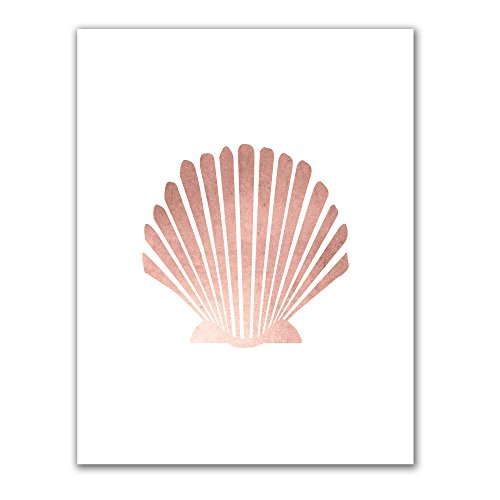 Jetty Home Rose Gold Scallop Sea Shell Art Print, 8