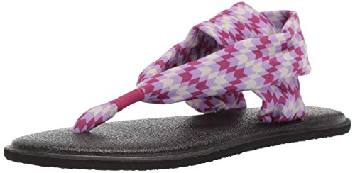 Sanuk Kids Girls' Lil Yoga Sling 2 Prints Sandal, red Rock Chevron Pink/Purple, 06/07 M US Big Kid