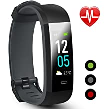 SOLICE Fitness Tracker, Color Screen Smart Watch with Heart Rate Monitor,Double Color Strap IP68 Waterproof Wristband with Pedometer Calorie Counter Message Reminder for Sport Gym Running
