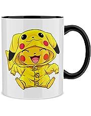 Mok met gekleurd handvat en interieur (Zwart) - Parodie Pokémon - Pikachu (Hoogwaardig Mok - bedrukt in Frankrijk - Ref : 881)