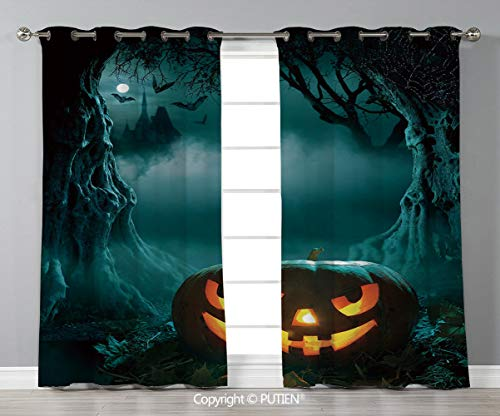Grommet Blackout Window Curtains Drapes [ Halloween,Carved Pumpkin