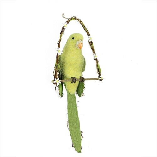 Northlight 23'' Yellow, Green and Brown Parrot on Arch Swing Spring Hanging Decoration by Northlight