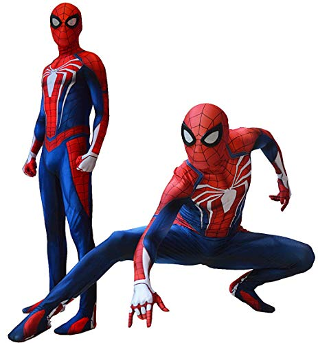 Insomniac PS4 Spiderman Costume PS4 Spider-Man Suit for Kids and Adults Cosplay Insomniac PS4 Spider-Man Movie Best Halloween Costume (Medium) -