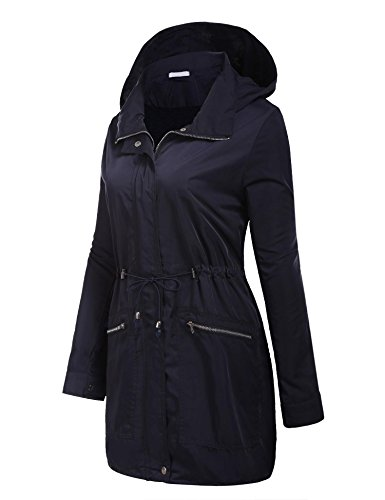 Lluvia De Mujer Larga Impermeable 1 Oscuro Chaqueta Angvns Manga Azul Abrigo Plegable Capucha qS1wtaZx