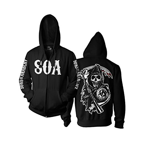 Anarchy Hooded Sweatshirt - Sons of Anarchy Officially Licensed Merchandise SOA Reaper Zipped Hoodie (Black), Large