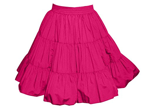 3-Tier Solid Raspberry Western Style Square Dance Skirt -