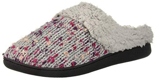 Dearfoams Women's Tweed Knit Clog in Wide Width Slipper, Light Heather Grey