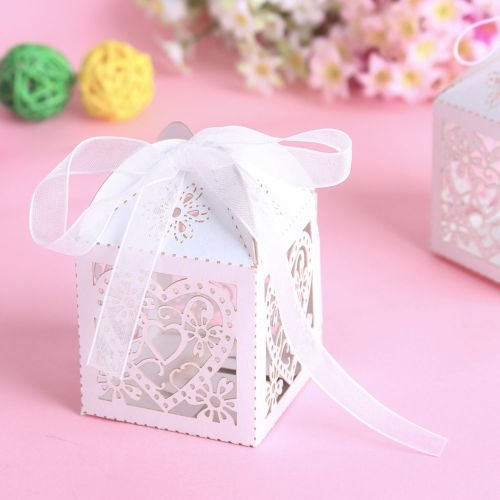 [The Pecan Man 50pcs Love Laser Heart Candy Boxes Wedding Themed Gift Sweets White] (Easy But Cute Halloween Treats)