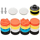 VASLON 3 inch Car Polishing Buffing Waxing Kit Polisher Sponge Pads Set with Drill Adapter for Vehicle Waxing Boat…