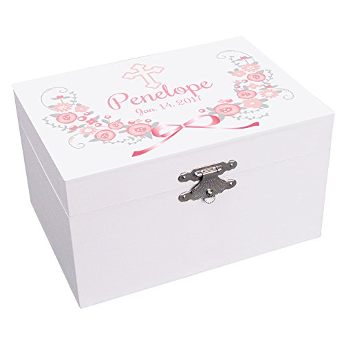 Personalized Baptism Girl Pink and Gray Jewelry Box