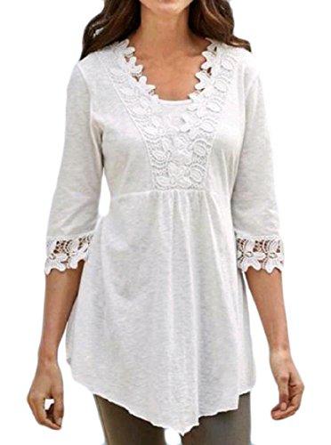 Pullover Rappezzatura Manica Vestito Di Mini donne Del Coolred Merletto Bianco Lunga Maglietta Partito 1 2 8B7qwAx