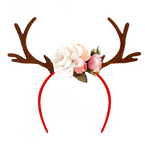 Tinksky Kids Girls Funny Deer Antler Headband with Flowers Blossom Novelty Party Hair Band Head Band Christmas Fancy Dress Costumes Accessory birthday or Xmas Thanksgiving Day gift (Cute Diy Halloween Costumes For Women)