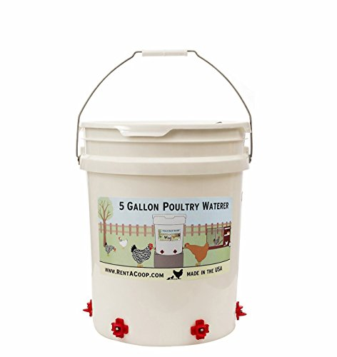 5 Gallon Chicken Waterer - 6 Horizontal Side Mount Poultry Nipples - For Up To 30 Chickens - Coop Feeder (Easy Fill Drinker)