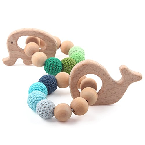 Infant Whale Rattle - Baby Wooden Teethers Organic Teething Bracelet Elephant Whale Shaped Chewable Montessori Toy Shower Gift