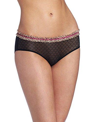 Jezebel Women's Tease Low Rise Hipster Panty Underwear, Black, Small (Felina Garter)