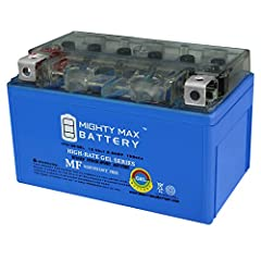 The YTZ10S GEL is a 12V 8.6AH GEL (Maintenance Free) battery. Requires no addition of water during the life of the battery. The Mighty Max YTZ10S GEL is a TRUE DEEP CYCLE battery that can be mounted in any position, requires no maintenance. W...