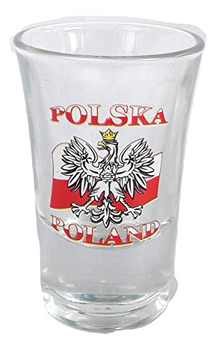 - New Shot Glass Tequila Republic of Poland Flag Polish Polska Coat of arms Warsaw