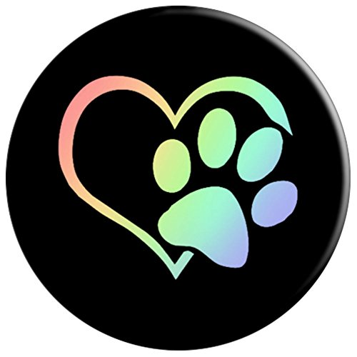 Paw Print Pet Owner Lover Heart Cat Dog Retro Rainbow - PopSockets Grip and Stand for Phones and Tablets by SmokyMountainMobile Dog Pawprint Collection (Image #2)