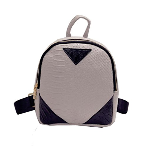 Shoulder Women concise 2018 Backpack for Book School Serpentine by TOPUNDER Rucksack Gray Bag Canvas vvgqEx0A