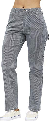 Dickies Girl Juniors' Relaxed Fit Railroad Striped Carpenter Pants (Dickies For Girls)