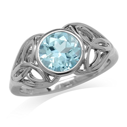 (2.41ct. Genuine Blue Topaz 925 Sterling Silver Triquetra Celtic Knot Ring Size 9)